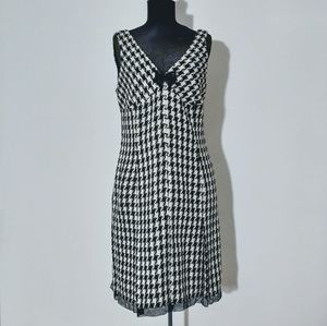 Nine West Black & White Houndstooth Check Dress 12